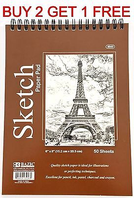 "6"" x 8"" High Quality Spiral Premium Quality Sketch Book Paper Pad 50 Sheets"