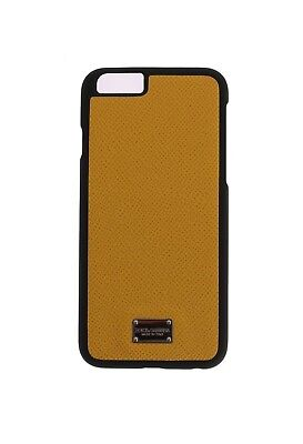 NEW DOLCE & GABBANA Phone Case Yellow Silver Logo Dauphine Leather iPhone6