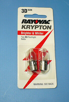"2 RAYOVAC KRYPTON BULBS - FOR 3 ""D"" CELL FLASHLIGHT- MODEL K3-2/PR3"
