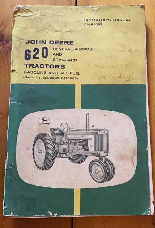 Vintage John Deere 620 Gas All Owner Operator's Manual 6200000-6213099 Original