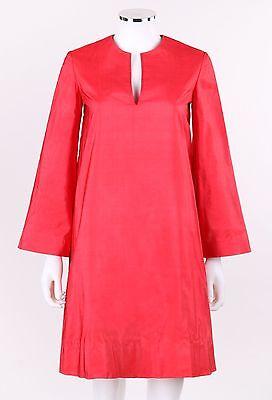 Vtg HALSTON c.1970's Fuschia Pink 100% Silk Long Bell Sleeve Tunic Dress Size 6