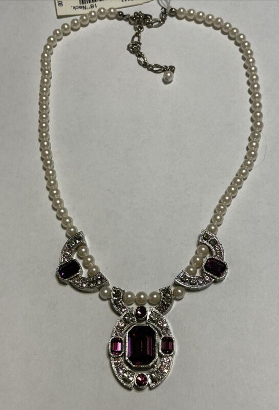 "Vintage MARVELLA Heirloom Violet Silver Tone Faux Pearl Necklace 16-18"""