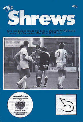 Shrewsbury Town v Bolton Wanderers 25 Sept 1984 - Official Matchday Programme