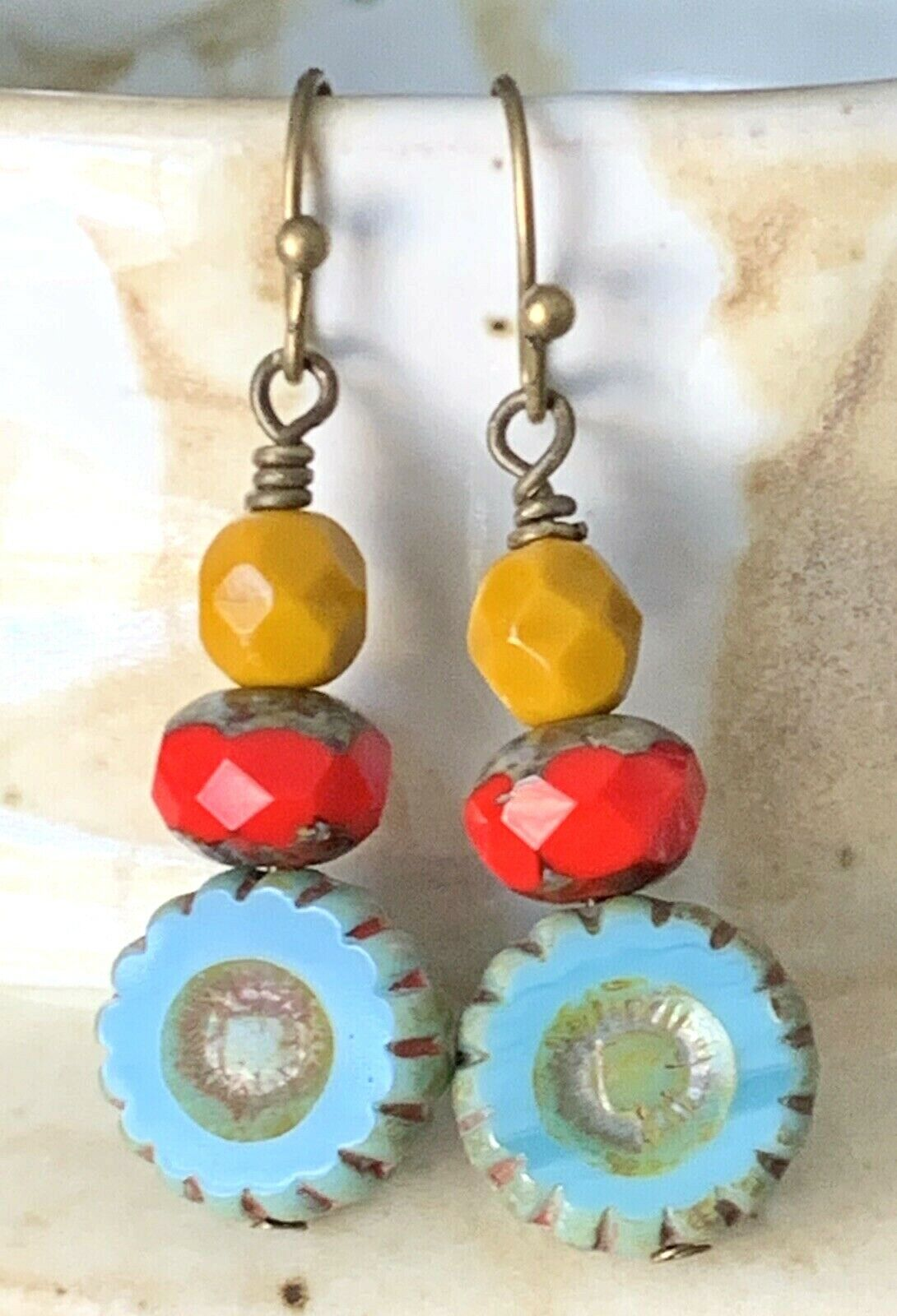 Bronze, Turquoise, Red And Apricot Picasso Bead Earrings. Boho Chic. - $5.99