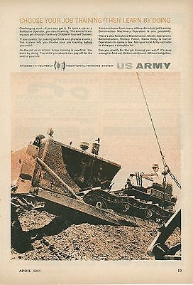 1961 US Army Recruiting Ad Vocational Training Bulldozer Operator Recruit Enlist