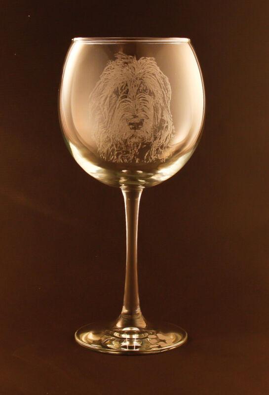 New! Etched Irish Wolfhound on Large Elegant Wine Glasses - Set of 2
