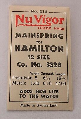 Hamilton 12 Size #3328 Factory Packaged New Old Stock Pocket Watch Mainspring #3