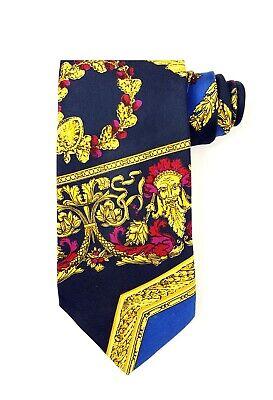 "GIANNI VERSACE Gold Black Baroque Tie 3.5"" Silk 60L Vintage 90's"