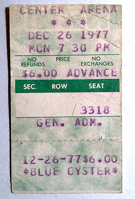 Blue Oyster Cult St. Paul Civic Center Ticket Stub December 26th 1977