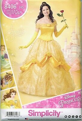 Simplicity 8406 Disney Princess Belle Beauty Costume Sewing Pattern UNCUT NEW (Plus Size Princess Belle Costume)