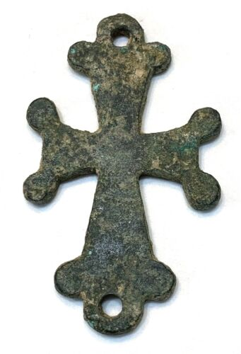 ANCIENT BYZANTINE BRONZE CROSS; LARGE CROSS - HOLY LAND - 600 A.D. - CHARMING !