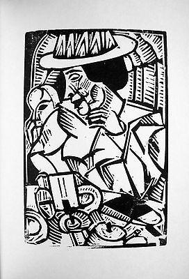 "GEORG TAPPERT:""DAME IM CAFE"" ORIGINAL-LINOLSCHNITT 1917 EXPRESSIONISMUS LINOCUT"