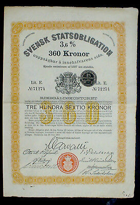 Svensk Statsobligation 3,6% 360 Kronor Bond Stockholm 1922 uncancelled