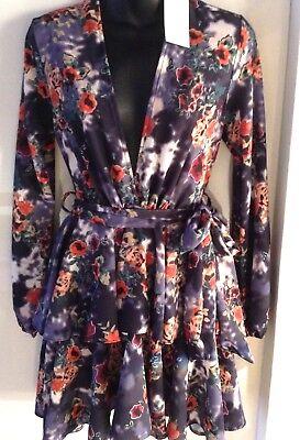 John Zack  Mini Dress Plunge Neck Ruffle Tiered  Floral  Mini Tea Dress