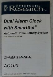 ( OWNERS MANUAL ONLY ) EMERSON - SmartSet Dual Alarm Clock Research AC100 Auto.