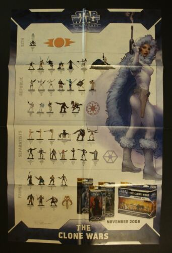 """2008 Star Wars THE CLONE WARS MINIATURES Double-Sided Poster 86 cm. (33.9"""") BIG!"""