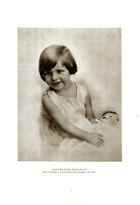 Glückliche Kindheit Mädchen & Puppe XL Fotoabb. 1929 Kleid weiß blond Reinhard