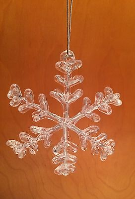 Acrylic Snowflakes (3D Winter Snowflake Christmas Tree Ornament - Clear Acrylic w/ Silver)