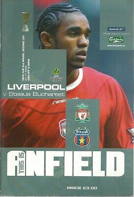 LIVERPOOL F.C V STEAUA BUCHAREST 2003/04 U.E.F.A. CUP MATCHDAY PROGRAMME