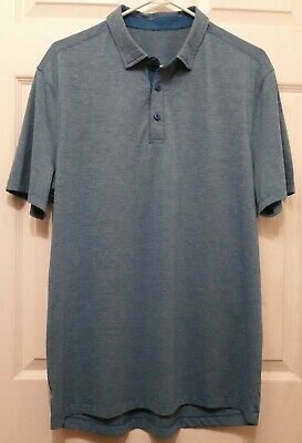 LULULEMON Evolution Polo Men's Size XL Heathered Whirlpool Short Sleeve Shirt
