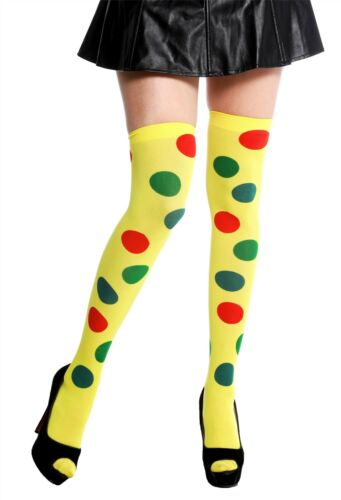 Strümpfe Damenstrümpfe Overknees Karneval Clown gelb Punkte bunt Polka Dots