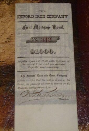 1882 THE OXFORD IRON COMPANY NEW JERSEY CERTIFICATE FARMERS LOAN & TRUST #527