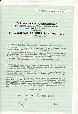 Gold Indexed Call Option Certificate-Bank Gutzwiller,Kurz,Bungener LTD-Genf 1987