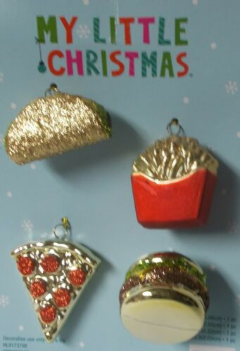 MY LITTLE CHRISTMAS 4 PIECE PIZZA FRIES TACO BURGER MINI CHRISTMAS ORNAMENTS
