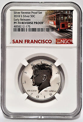 2018-S Silver REVERSE Proof Set KENNEDY 50C NGC PF 70 Early Releases -Cable Car-