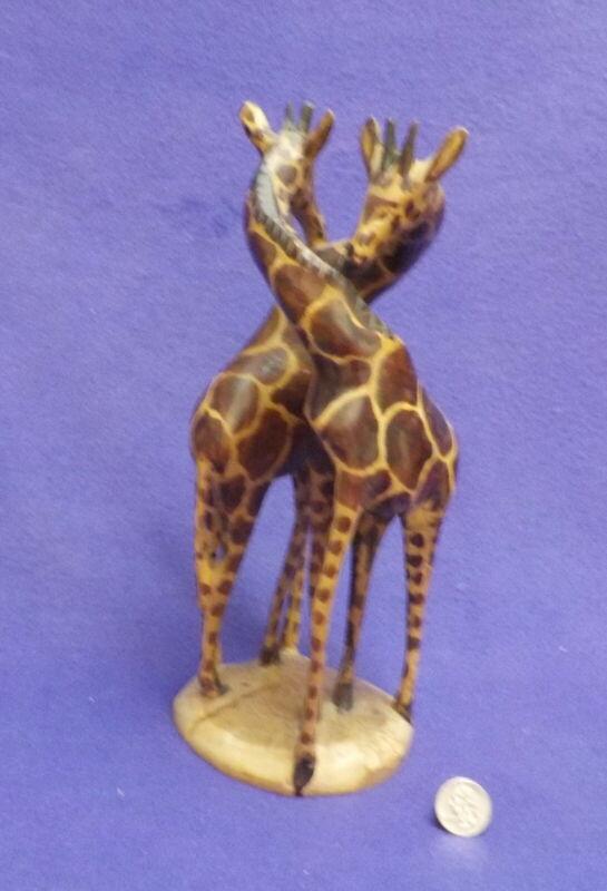 KENYA  AFRICAN GIRAFFE PAIR Sculpture  Hand Carved Wooden 11 1/2 inches