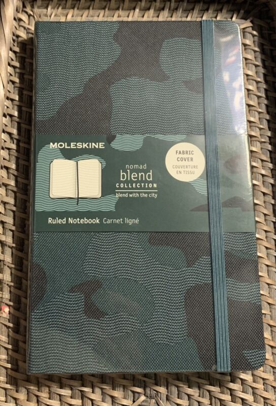 """Moleskine Notebook, 5""""x 8.25"""" Camo Soft Fabric Cover 240 Lined Pages Acid Free"""