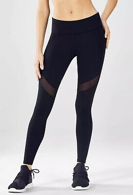 NWT Fabletics Mid-Rise PowerHold® Moto Legging with Mesh Panel in Black, Size XL