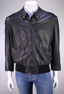 GIORGIO ARMANI Vintage 90's Black Bomber Biker Leather Jacket 40/Medium