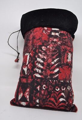 - Padded Pouch for Glass Pipe Red Velvet & Tribal Print  9 inches by 6 inches wide