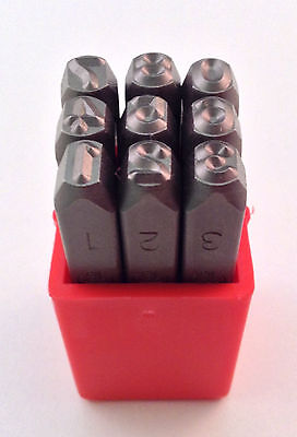"9pc 3/16"" 5MM Number Stamp Punch Set Hardened Steel, Metal Wood Leather"