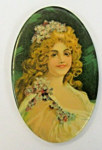 1890s PRETTY LADY holding blue flowers non-advertising celluloid pocket mirror ^