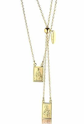 Our Lady Mt Carmel & Sacred Heart Jesus Gold Plated Silver 925 Scapular Necklace