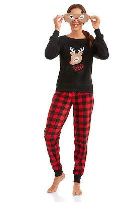 Rudolph 2 Piece Christmas Fleece Pajamas + Sleep Eye Mask Womens Adult Reindeer