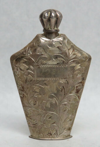 """VINTAGE STERLING SILVER HAND CHASED ENGRAVED 2 1/4"""" PERFUME FLASK"""