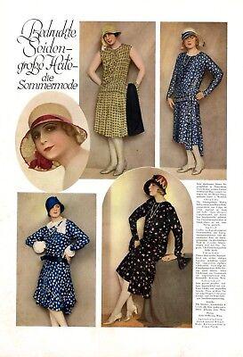 Bedruckte Seide & Sommerhüte 1 S. Fotoabbildungen 1929 20er Jahre Kleider Mode