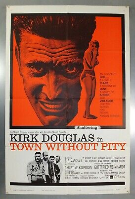 TOWN WITHOUT PITY - KIRK DOUGLAS - ORIGINAL AMERICAN ONE SHEET MOVIE POSTER