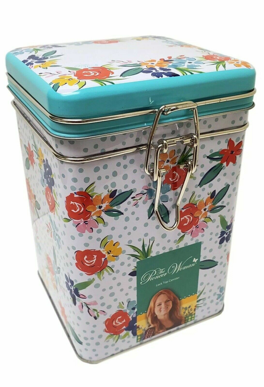 Pioneer Woman Floral Square Lock Top Tin Canister storage hi