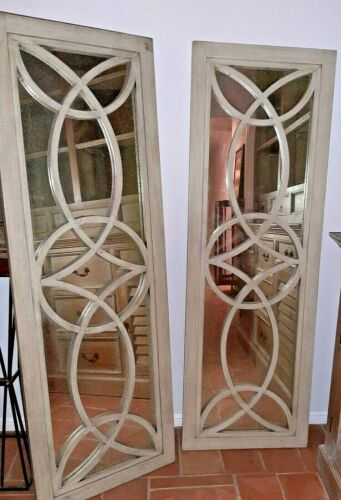 Mirrored Wall Panels Wooden Architectural Decor - Large Antiqued Mirrors A Pair