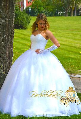 NEU Prinzessin Brautkleid Hochzeitskleid 34 bis 52 Kristall Glitzer Braut Kleid (Kristall Hochzeit Kleid)