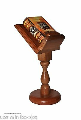 New Nice Holy Bible Full Version King James wood stand Miniature Book Hardbound