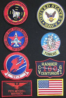 """TOP GUN US Navy USN SEAL Sew On 10/"""" Diameter Embroidered JACKET BACK PATCH New"""