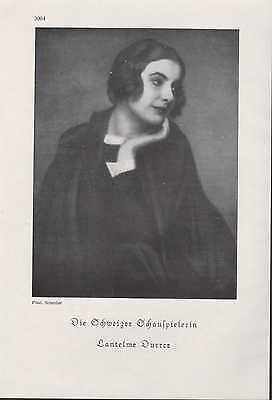 Werbung 1929, Bildnis Portrait Fotografie der Schauspielerin Lantelme Durrer