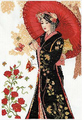 Cross Stitch Kit ~ Design Works Elegant Geisha with Red Para