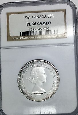 1961  CANADA PL66 CAMEO NGC  GEM 50 CENTS  SHARP COIN PQ OLDER HOLDER