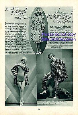 20er Jahre Badeanzug (Bademode 20er Jahre Bericht 1930 Patek Zimmerauer Herzmansky Wien Mode Badeanzug)